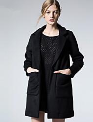 ARNE® Femme Col en V Manche Longues Laine et Mélanges Noir-D5009