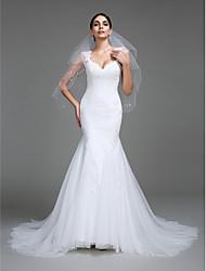 2017 Lanting cintas trem trompete / tribunal vestido de noiva sereia bride® tule com apliques