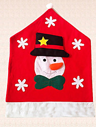 1pc Snowflake Chair Hat Snowman Christmas Chair Cover Decoration Kitchen Decor