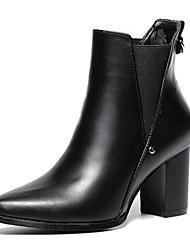 Черный-Женский-Для прогулок-Дерматин-На толстом каблуке-Сапоги для верховой езды-Ботинки