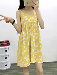 Women's Casual/Daily Simple A Line Dress,Print Strap Above Knee Sleeveless Blue / Yellow Rayon Summer