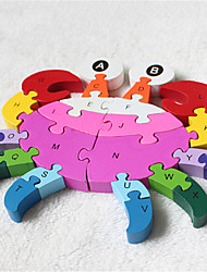 In Early 26 English Alphanumeric Cognitive Intelligence Wooden Block Puzzles Crab