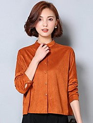 Women's Work Simple Fall Shirt,Solid Stand Long Sleeve Yellow Cotton / Linen Medium