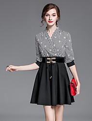 JOJ  Women's Work Sophisticated Sheath DressStriped V Neck Above Knee Long Sleeve Black Rayon