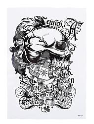 1pc White Skull Bone English Letter Pattern Flower Arm Body Art Temporary Tattoo Sticker for Women HB-421