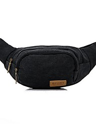 Men Waist Bag Canvas Casual Black Purple Brown Green Blue