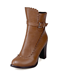Women's Boots Spring / Fall / Winter Fashion Boots / Combat Boots Leatherette Outdoor  / Casual Chunky Heel ZipperBlack