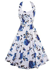 Women's Going out / Party/Cocktail Vintage Sheath Dress,Floral Halter Knee-length Sleeveless Summer