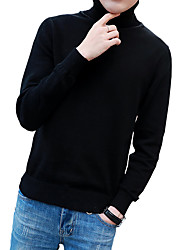 Men's Fashion Slim High Collar Solid Color Knit Pullover,Wool / Cotton Long Sleeve Black / Blue / Red / Beige / Gray