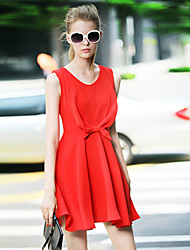 Women's Casual/Daily Street chic A Line Dress,Solid V Neck Above Knee Sleeveless Red Polyester Summer