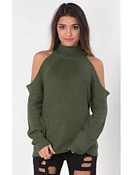 Normal Pullover Chic de Rue,Couleur Pleine Vert Col Roulé Manches Longues Polyester Hiver Fin Micro-élastique