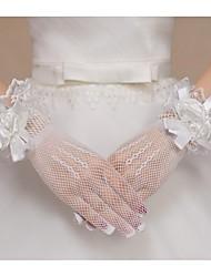 Wrist Length Fingertips Glove Net Bridal Gloves Spring Summer Fall Floral