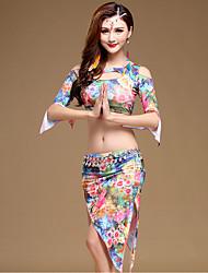 Belly Dance Outfits Women's Performance Milk Fiber Print 2 Pieces Dark Green / Light Blue / Red Half Sleeve Top / Skirt