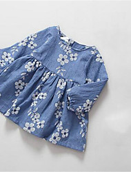 Girl's Casual/Daily Floral Dress,Cotton Spring / Fall Blue / Pink