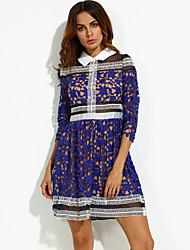 Mulheres Vestido Solto Sensual Color Block Mini Colarinho de Camisa Outros