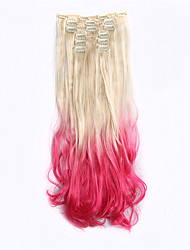 New arrival 7pcs/set hair extension Clip in on synthetic Curly ombre hair extensions 613TPink hair piece dip dye ombre