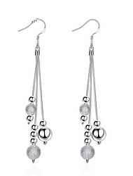 Personality OL Fine S925 Silver Simplicity Bead Ball Tassel Drop Earrings for Women Wedding Party Jewelry