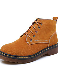 Women's Boots Winter Combat Boots / Round Toe  Leather Dress Low Heel  Black / Blue / Yellow / Gray Walking