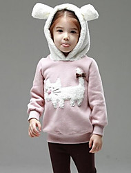 Girl's Casual/Daily Patchwork Hoodie & Sweatshirt,Rayon Winter / Spring / Fall Green / Pink