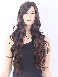 European and American Ppopular High Quality Black Brown Mix Color Long Curly Hair Synthetic Wig
