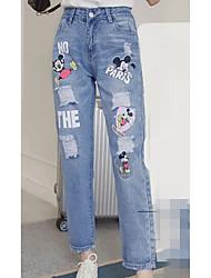 De las mujeres Pantalones Vaquero / Chinos-Simple Rígido-Algodón