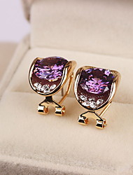 Stud Earrings Crystal Sterling Silver Zircon Cubic Zirconia Fashion Oval Gold White Purple Jewelry Daily Casual 1 pair