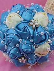 Fleurs de mariage Rond Roses Bouquets Mariage Polyester 46cm