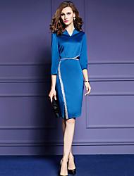Moulante Robe Femme Sortie / Grandes Tailles Chic de Rue,Couleur Pleine Col en V Mi-long Manches ¾ Bleu / Noir / Violet Polyester Automne