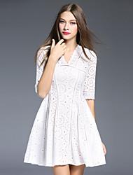 Ample Robe Femme Décontracté / Quotidien simple,Couleur Pleine Col en V Au dessus du genou Manches Courtes Blanc Polyester Printemps