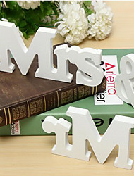 Tinksky Mr and Mrs Sign Wooden Letters Wedding Decoration Wedding Present (White)