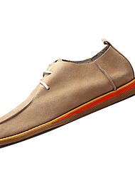 Herren-Flache Schuhe-Lässig-Kunstleder-Flacher Absatz-Komfort / Flache Schuhe-Blau / Braun / Grau