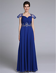 Lanting Bride® A-line Mother of the Bride Dress Floor-length Short Sleeve Chiffon with Appliques / Criss Cross