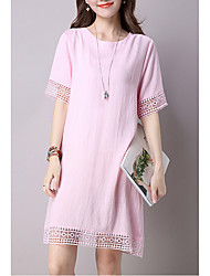 Women's Plus Size / Going out /  Simple Loose Dress,Solid Round Neck Knee-length Short Sleeve Blue / Pink Linen Summer
