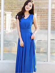 Women's Beach Boho Chiffon Dress,Solid V Neck Maxi Sleeveless Blue / Pink / White / Black