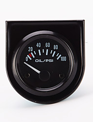 "IZTOSS 0-100 PSI Line 2"" Mechanical Oil Pressure Gauge (Black Dial Face, Black Bezel,white led)"