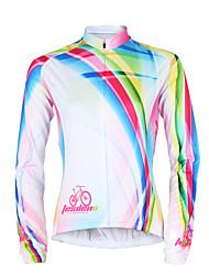 TASDAN Maillot de Cyclisme Femme Manches Longues Vélo Maillot Hauts/Tops Séchage rapide Résistant aux ultraviolets Respirable