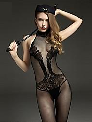 Donna Lingerie con reggicalze Sensuale Body Indumenti da notte,Con stampe Jacquard-Sottile Nylon Nero