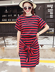 Women's Casual/Daily Simple Summer Set Skirt,Striped Round Neck Short Sleeve Red / Black / Green Rayon Medium