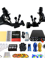 Complete Tattoo Kit 2 rotary machine liner & shader 2 alloy machine liner & shader 2 Tattoo Machines Mini power supplyInks Shipped