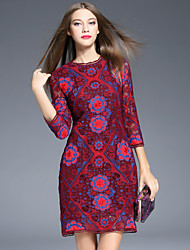 Boutique S Women's Going out Vintage Sheath Dress,Floral Round Neck Above Knee ¾ Sleeve Red Polyester