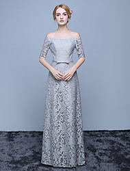 Formal Evening Dress Ball Gown Off-the-shoulder Floor-length Lace / Satin with Bow(s) / Lace