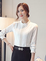 Women's Stand Collar Solid Color Chiffon Long Sleeve Blouses Shirt