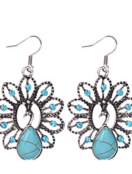 Bohemia Ethnic Style Women Vintage Jewelry Tibetan Silver Turquoise Rhinestone Peacock Shape Dangle Earrings