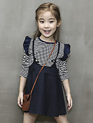 Girl's Cotton Spring/Autumn Fashion Stripes Shirt And Denim Suspenders Skirt Casual Two-piece Set