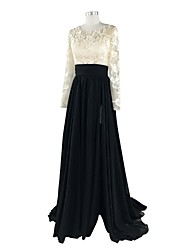 A-Line Jewel Neck Court Train Chiffon Lace Formal Evening Dress with Appliques Lace