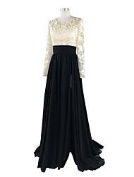2017 de noite formal vestido de uma linha de trem tribunal jóia chiffon / renda com apliques / rendas