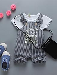 малыш Набор одежды-На каждый день,С принтом,Хлопок,Весна / Осень-Синий / Бежевый