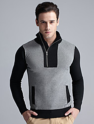 Men's Formal Casual/Daily Work Plus Size Regular Cardigan,Color Block Long Sleeve Wool Fall Winter