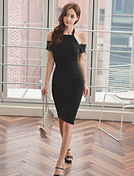 Women's Going out Sexy Bodycon Dress,Solid Asymmetrical Knee-length Short Sleeve Black Cotton Summer