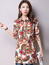 Women's Casual/Daily Street chic Fall Loose Thin Dress and Shirt,Print Shirt Collar Long Sleeve Cotton / Linen Medium